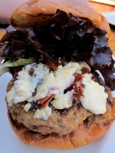 pork burger w/candied bacon and blue cheese
